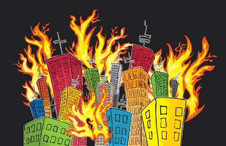 cartoon colored skyscrapers suburb catching fire Illustration