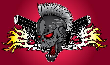 punk cibernetico teschio umano con le pistole e fuoco sfondo fiamme