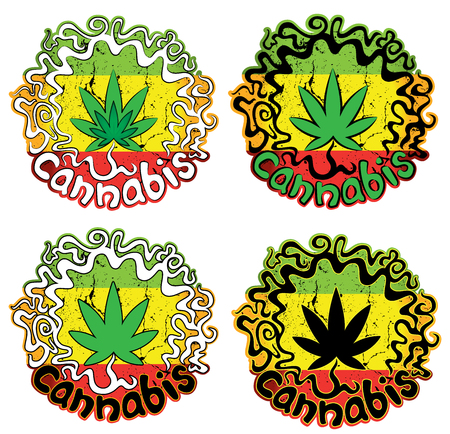 sticker vector: Cannabis leaf sticker vector illustration