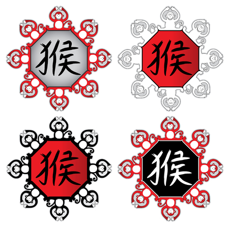chines: monkey zodiac design vector illustration with chines writing Year of the monkey
