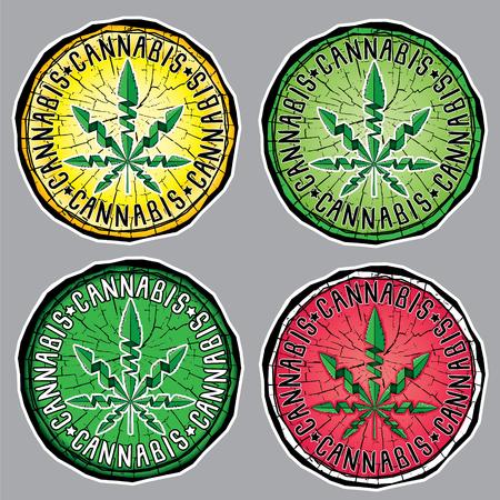 cannabis sativa: marijuana cannabis leaf symbol design sticker vector illustration