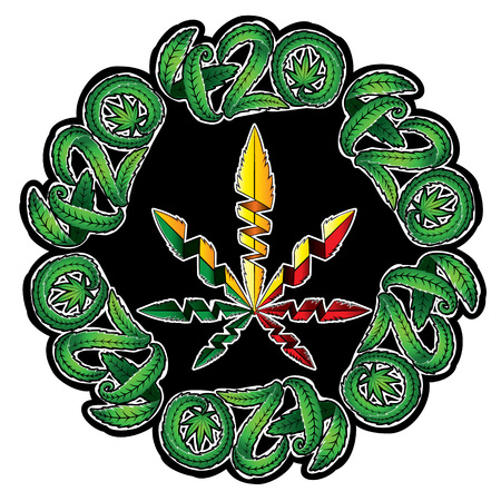 hashish: Marijuana leaf symbol stamps illustration