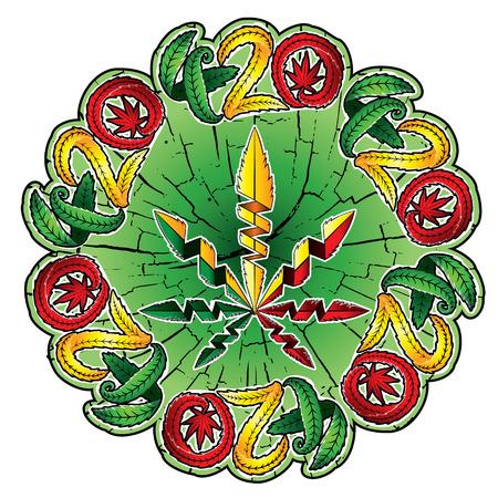 indica: Marijuana leaf symbol stamps Illustration