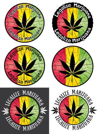 legalize: Legalize Marijuana stamps jamaican colors vector illustration