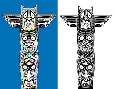 totem indien: indien totem hibou sculpté et visages effrayants