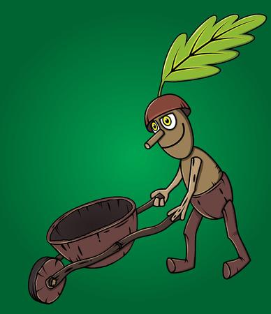 handcart: forest man oak leaf pushing wooden handcart