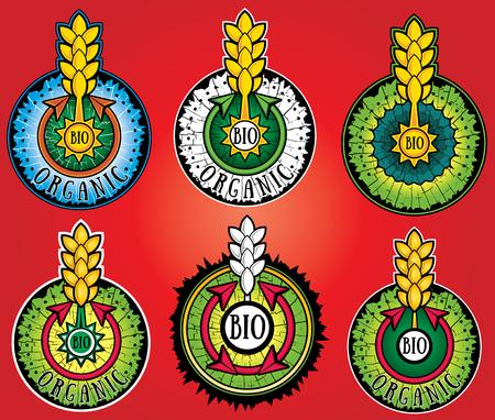 grain fields: wheat farm organic bio product design stamps Illustration