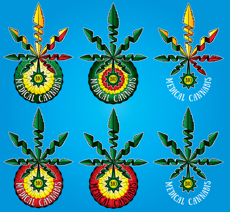 indica: medical cannabis marijuana leaf symbol design Illustration