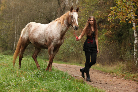 appaloosa: Young girl working with horse in autumn, natural horsemanship Stock Photo