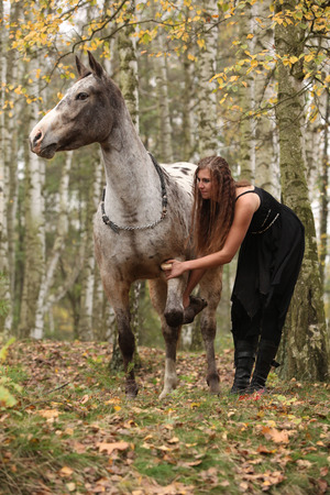 appaloosa: Beautiful girl with nice dress standing next to nice horse in autumn Stock Photo