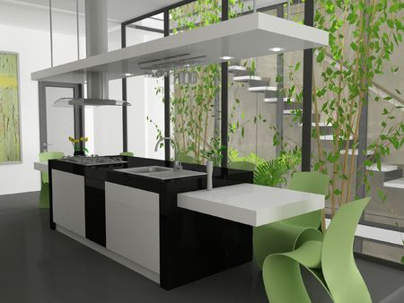 A 3d render of a modern kitchen island.