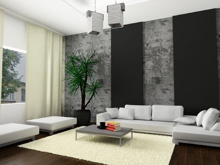 pouf: A 3d render of a modern interior.