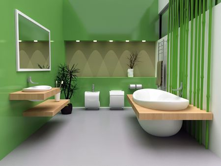 A modern interior of a contemporary bathroom. Stock Photo