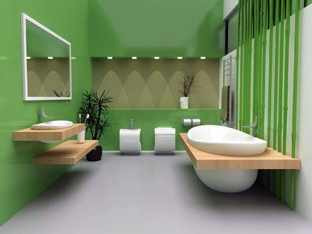 A modern interior of a contemporary bathroom. Stock Photo