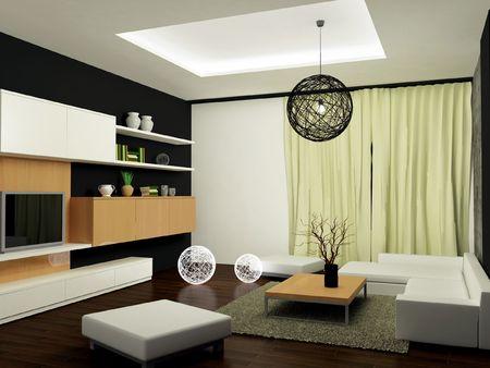 A modern interior of a contemporary living-room.