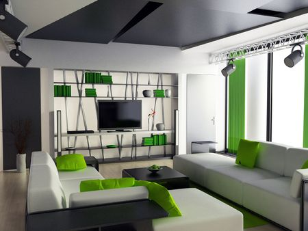 a 3d render of a modern home interior photo