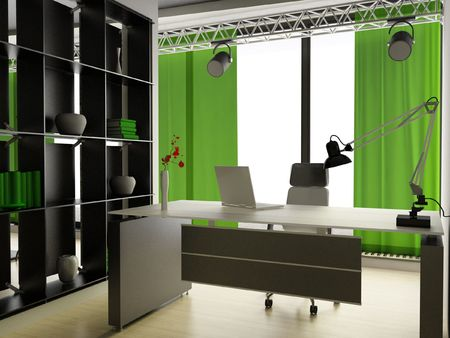a 3d render of a modern home interior Stock Photo