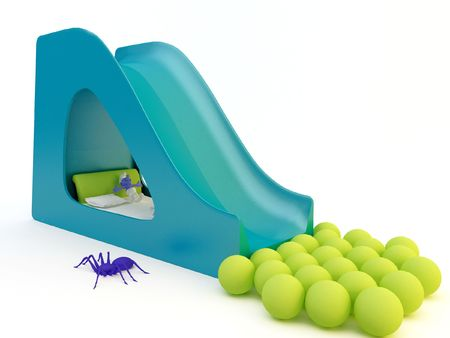 a 3d render of a modern children slide on white background