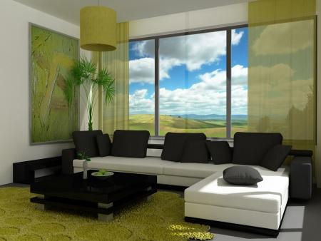 a 3d render of a modern living-room