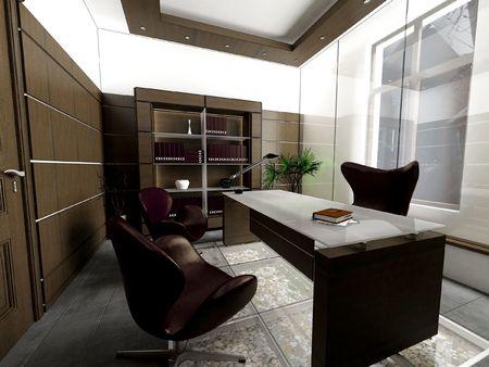 a 3d render of a modern office interior