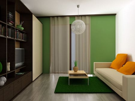 a 3d render of a modern apartment Stock Photo