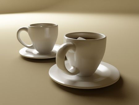 a set of two coffee cups Stock Photo