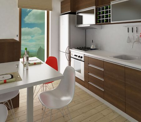 Modern kitchen with dining place
