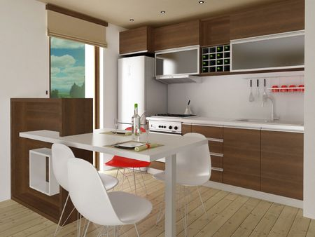 Modern kitchen with dining place photo