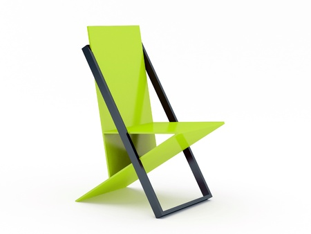 Modern green chair on white background