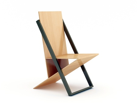 Modern wood chair on white background Stock Photo