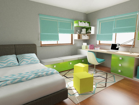 modern colorful children bedroom, 3d render