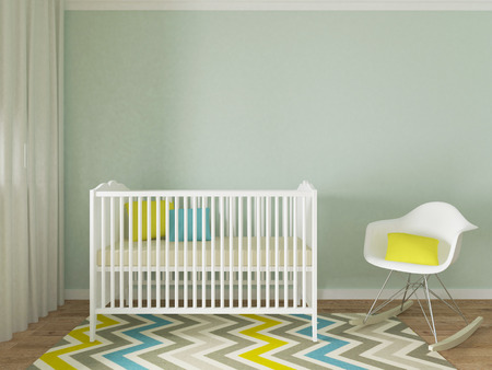boy room: Baby room interior, 3d render