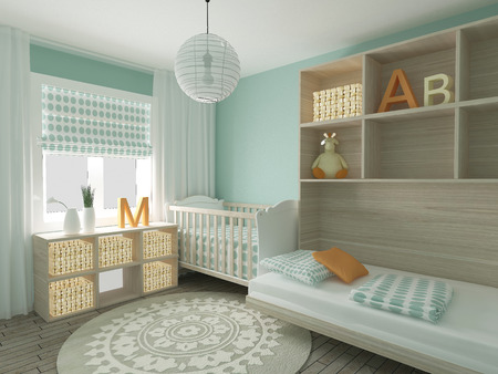 baby on chair: Baby room interior, 3d render