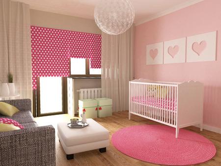 green room: Baby room interior, 3d render