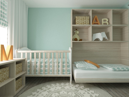 baby chair: Baby room interior, 3d render