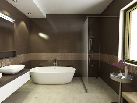 modern bathroom interior, 3d render Stockfoto