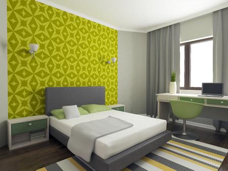 colorful interior, bedroom, children room, interior design, 3d render
