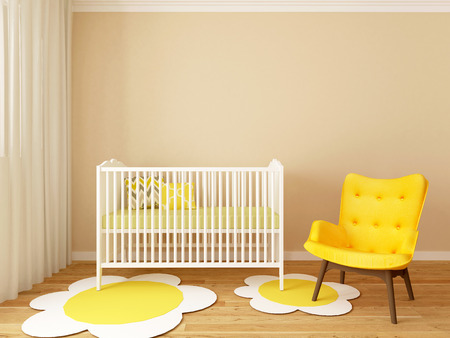 baby room: girl nursery, baby room, playroom, interior, design, 3d render Stock Photo