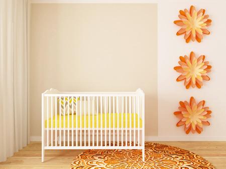girl nursery, baby room, playroom, interior, design, 3d render Stock Photo
