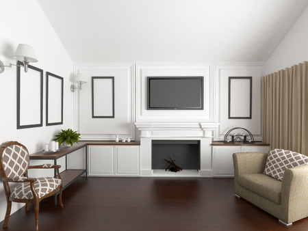 living room wall with fireplace Stock Photo