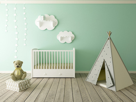 baby on chair: children room interior