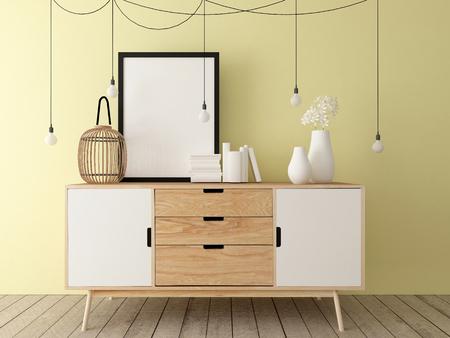 poster mockup on cabinet, interior