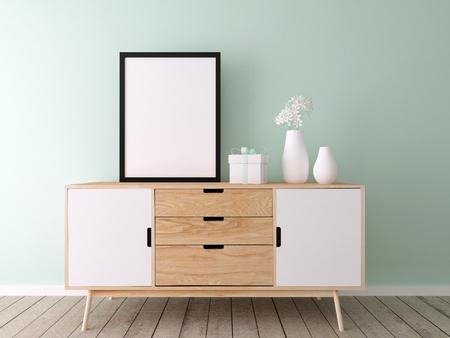 estanterias: cartel maqueta, un interior moderno