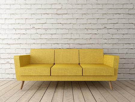 modern loft, interior with yellow sofa, brick wall