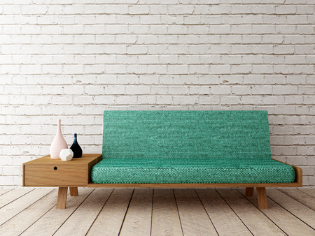 interior moderno con sofá en la pared de ladrillo Foto de archivo