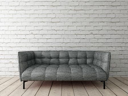 modern interior with sofa on brick wall Stock Photo