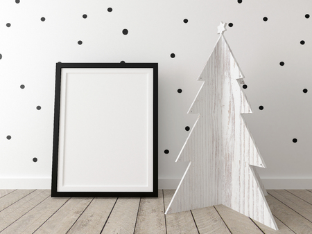 poster mockup with wooden christmas tree Stock Photo
