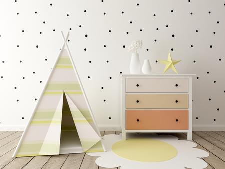 children room interior, nursery, baby room