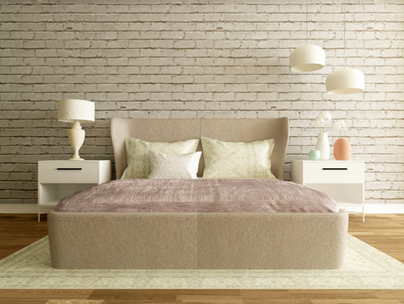 modern bedroom interior with brick wall