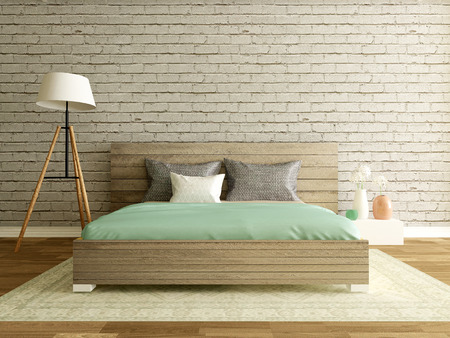 interior wallpaper: modern bedroom interior with brick wall